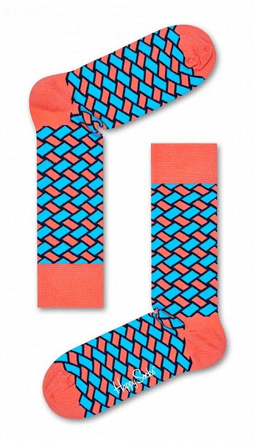 Happy Socks - Socken - Basket Sock, Korb - koralle / hellblau / schwarz - BSK01-3000