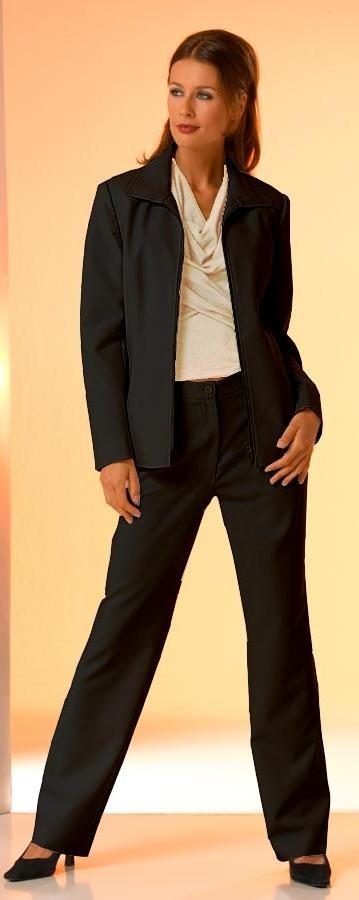 Hosenanzug, schwarz mit Reißverschluss-Jacke