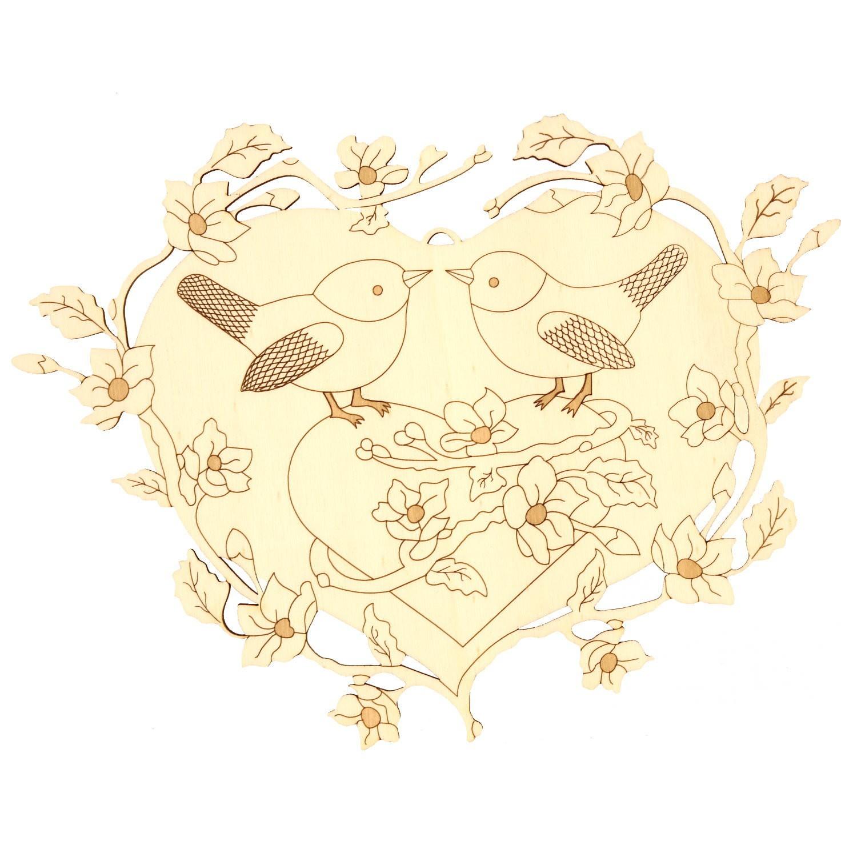 Holz Fensterbild-Wandbild Deko Vogelpaar im Herz mit Blüten, beidseitig graviert