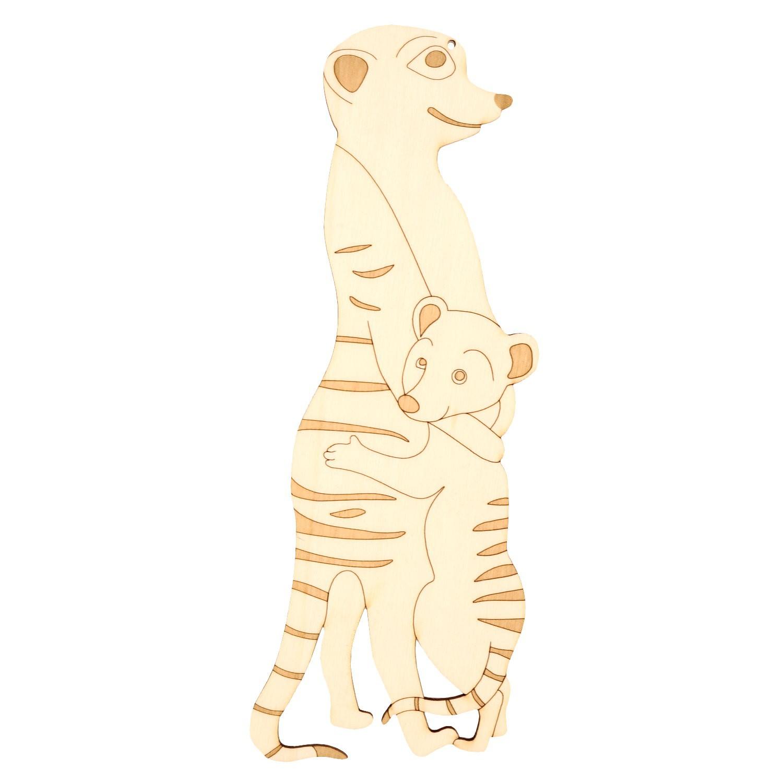 Holz Fensterbild-Wandbild Deko Erdmännchen mit Kind, beidseitig graviert