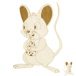 Windowpicture / Wallart - Mouse with wooden cover engraved on both sides