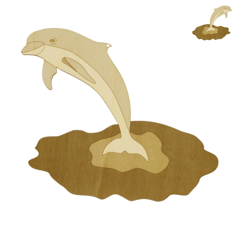 Holz Fensterbild-Wandbild Deko springender Delfin, beidseitig graviert