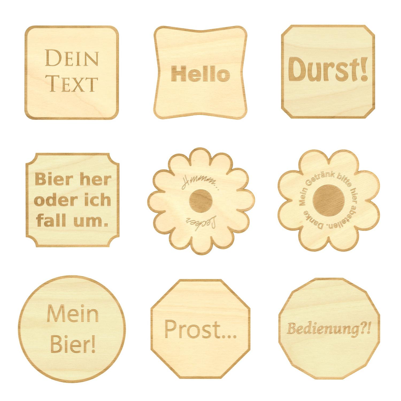 Design Untersetzer Bierdeckel Graviert Mit Wunschtext Aus Holz Bütic Gmbh