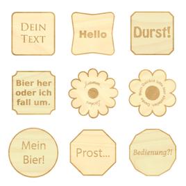 Design Untersetzer Bierdeckel graviert mit Wunschtext aus Holz