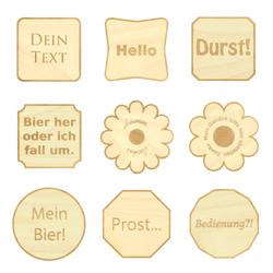 Design Untersetzer Bierdeckel graviert mit Wunschtext aus Holz – Bild 11