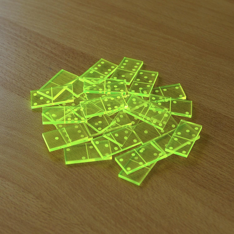 Mini Acrylglas Domino Spielset mit Box - Farbauswahl mit 28 oder 55 Dominosteinen
