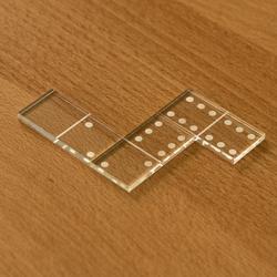 Mini Acrylglas Domino Spielset mit Box - Farbauswahl mit 28 oder 55 Dominosteinen – Bild 3