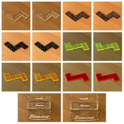 Mini Acrylglas Domino Spielset mit Box - Farbauswahl mit 28 oder 55 Dominosteinen – Bild 1