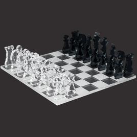 Mini Schachspiel 33tlg. aus transparentem Acryl klar und grau, Schachbrett per Laser graviert