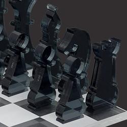Mini Schachspiel 33tlg. aus transparentem Acryl klar und grau, Schachbrett per Laser graviert – Bild 3