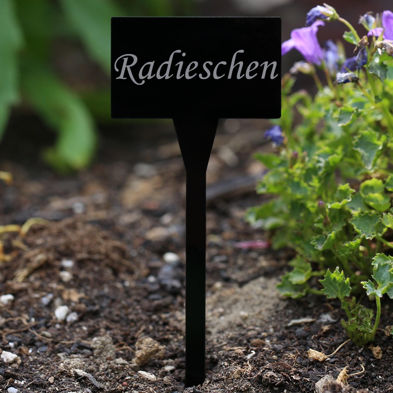 Acrylglas Pflanzschilder Eckig schwarz - Gartenstecker, Kräuterschilder, Pflanzenstecker - Auswahl + Wunschname
