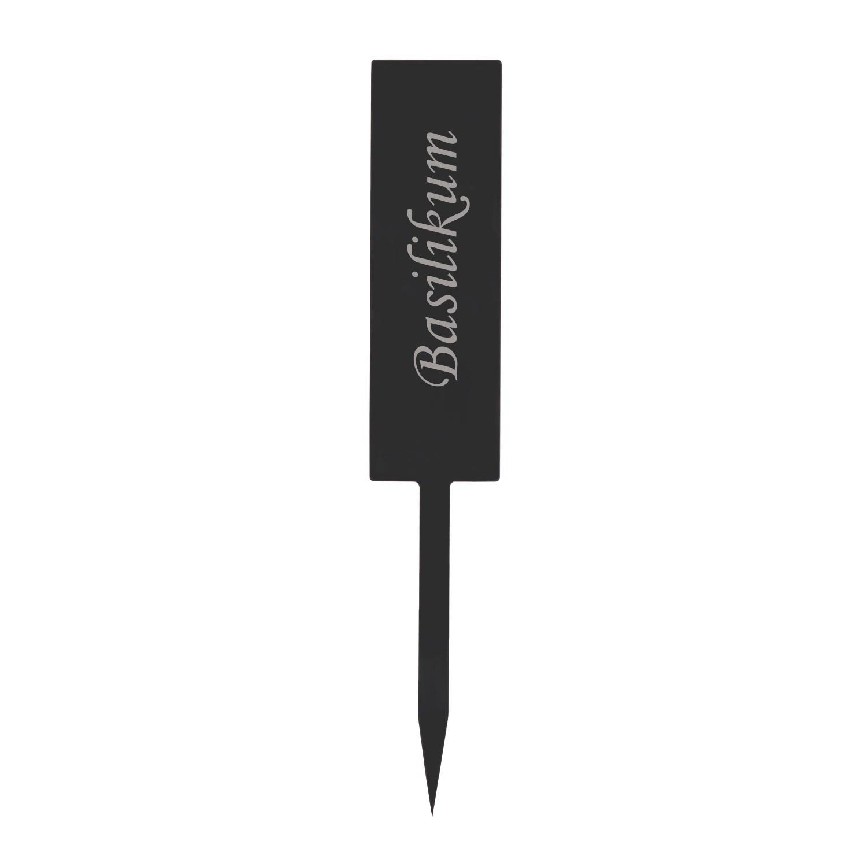 Acrylglas Pflanzschilder Stab grau transparent - Gartenstecker, Kräuter-Stab, Pflanzenstecker - Auswahl + Wunschname