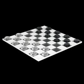 Mini Dame Spiel 25tlg. aus transparentem Acryl klar und grau, Spielbrett per Laser graviert