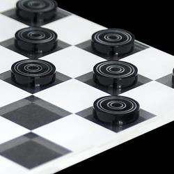 Mini Dame Spiel 25tlg. aus transparentem Acryl klar und grau, Spielbrett per Laser graviert – Bild 3