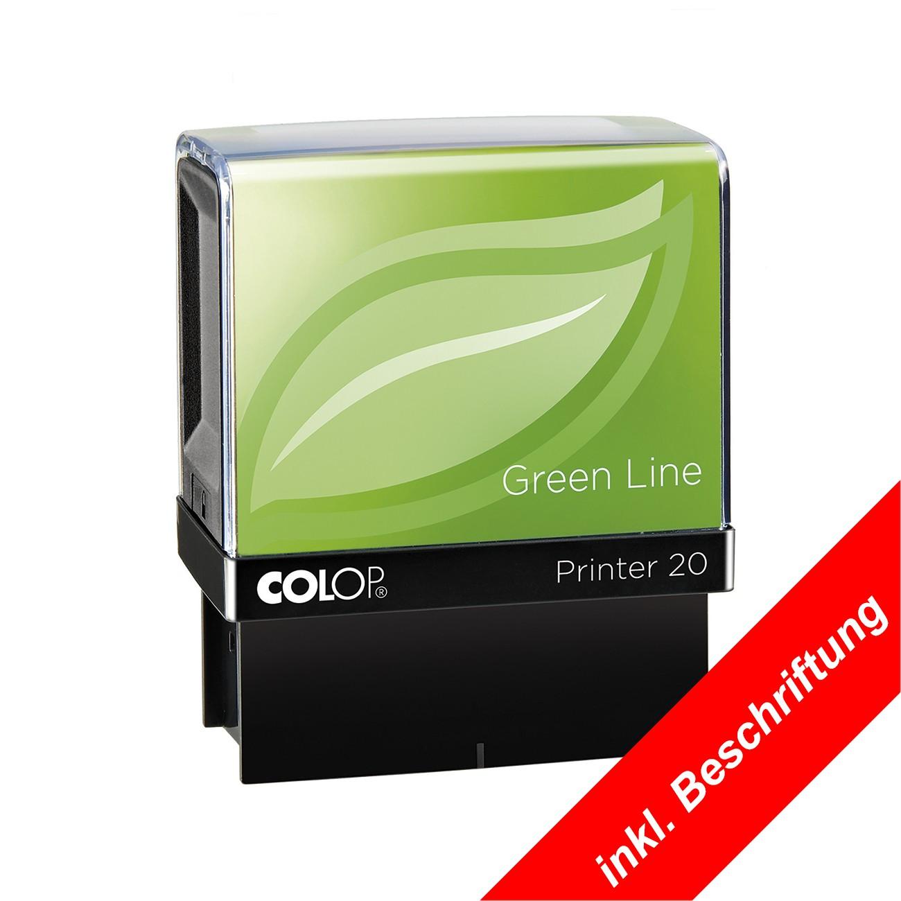 [Paket] COLOP Green Line Printer Stempel optional mit individuell gelasertem Stempeltext - in verschiedenen Größen