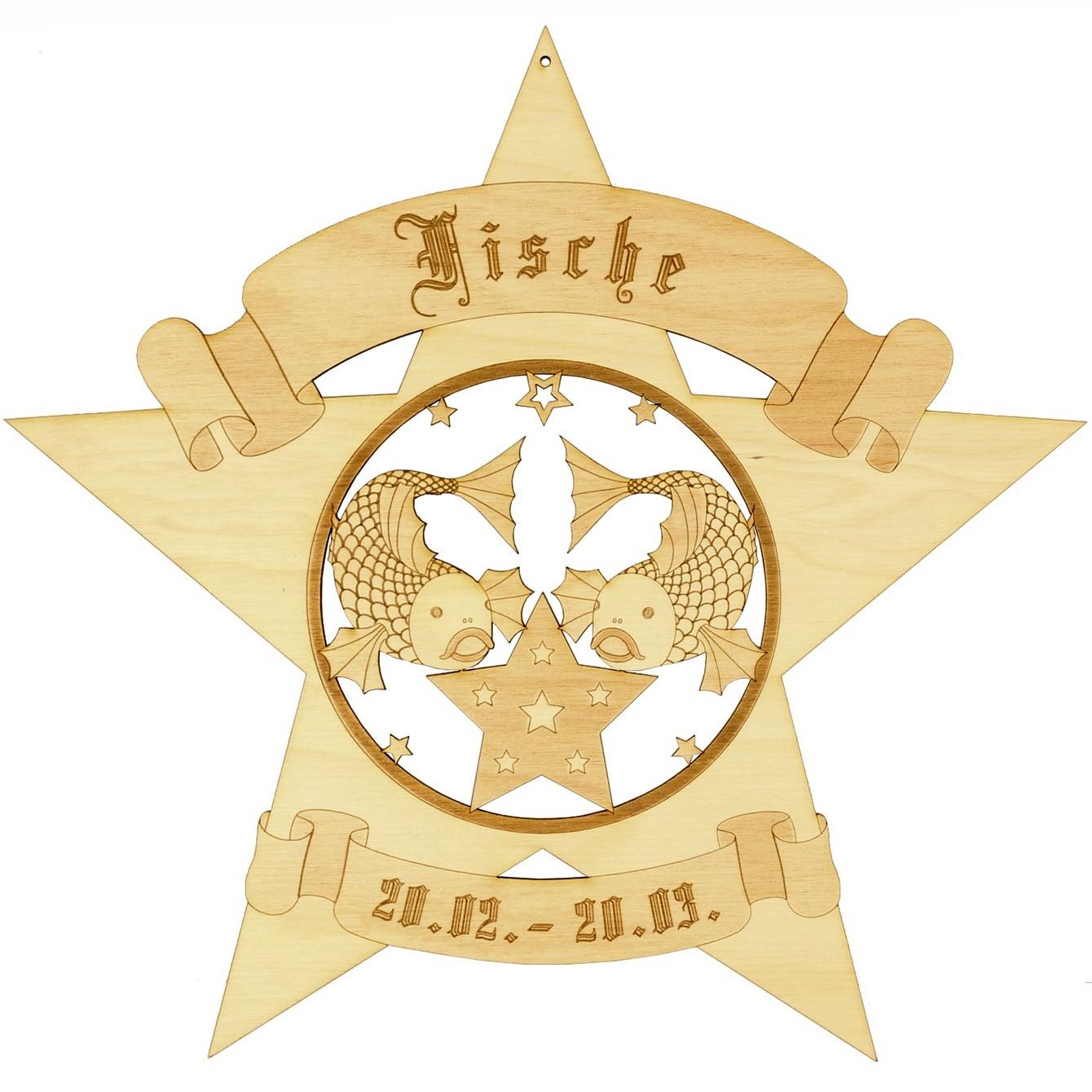 Sternzeichen Sternform Fensterbilder - Deko aus Holz - beidseitig graviert