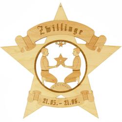 Sternzeichen Sternform Fensterbilder - Deko aus Holz - beidseitig graviert – Bild 5
