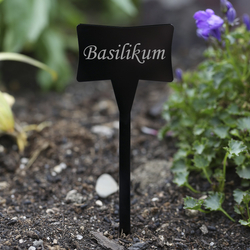 Acrylic glass plant slave black - weatherproof and elegant, herbs signs, plant plugs - many plant names or own text