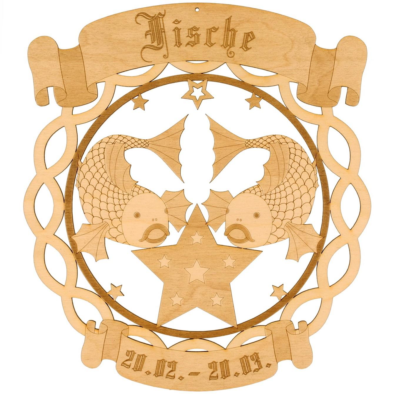 Sternzeichen Kranzform Fensterbilder - Deko aus Holz - beidseitig graviert