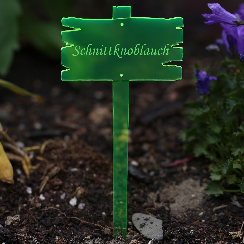 Acrylglas Pflanzschilder Holzbrettoptik neongrün transparent fluoreszierend - Gartenstecker, Kräuterschilder, Pflanzenstecker