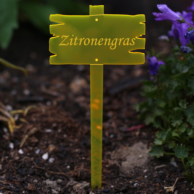 Acrylglas Pflanzschilder Holzbrettoptik neonorange transparent fluoreszierend - Gartenstecker, Kräuterschilder, Pflanzenstecker