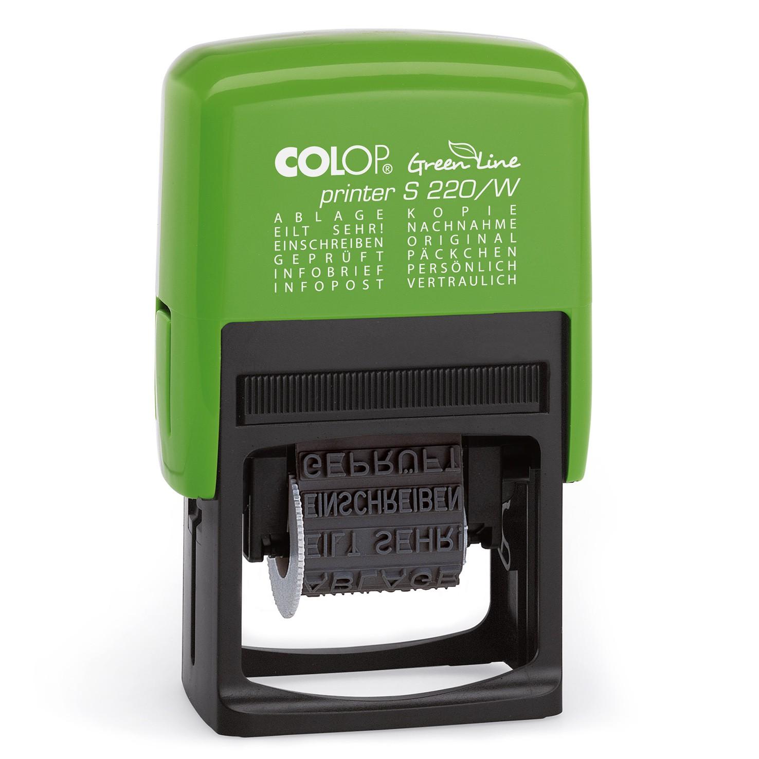 COLOP Green Line Printer Stempel mit 12 Stempeltexten - S220/W Wortbandstempel