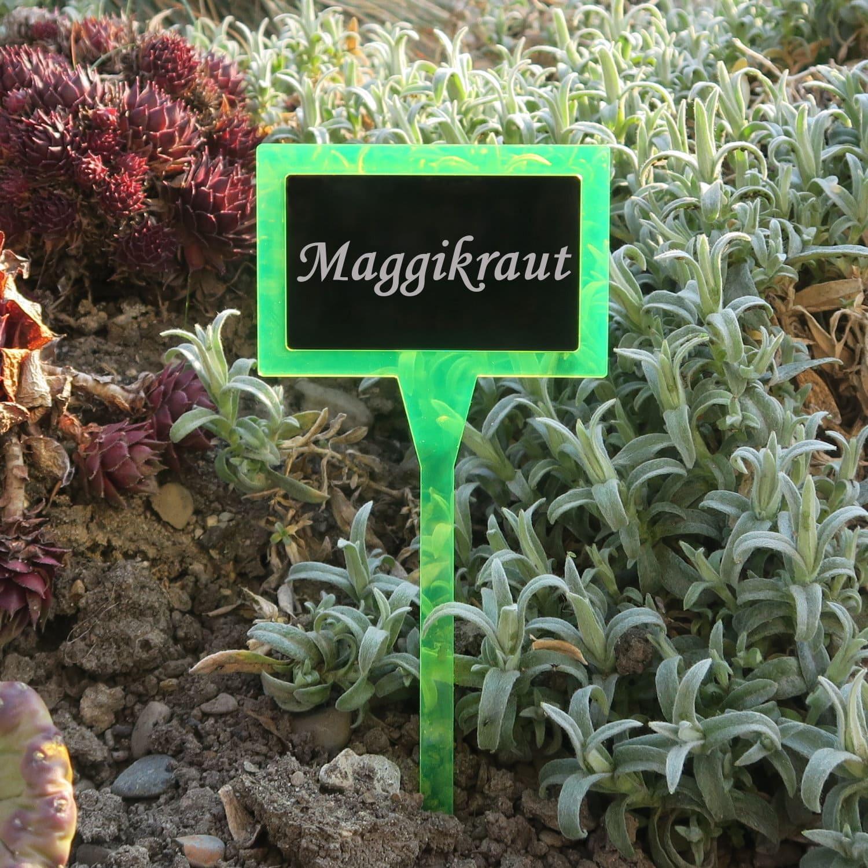Plexiglas® Pflanzschild Pflanzenstecker Dual Eckig neongrün+schwarz