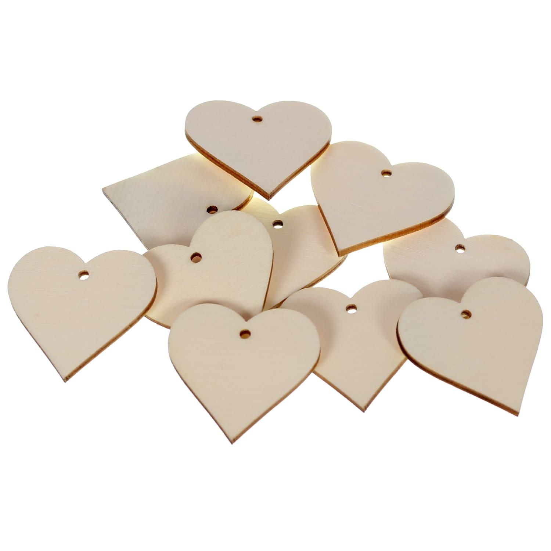 Holz Herzen mit 1 Loch - Deko Basteln 1-50cm