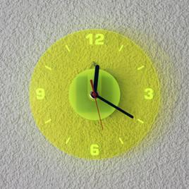 Acrylglas Quarz Wanduhr 19cm Rund neon transparent fluoreszierend - Farbauswahl - Eyecatcher