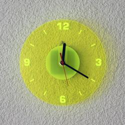 Acrylglas Quarz Wanduhr 19cm Rund neon transparent fluoreszierend - Farbauswahl - Eyecatcher 001