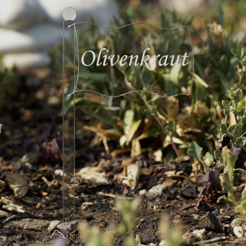 Acrylglas Pflanzschilder Fahne farblos - Auswahl + Wunschname - Gartenstecker, Kräuterschilder, Pflanzenstecker