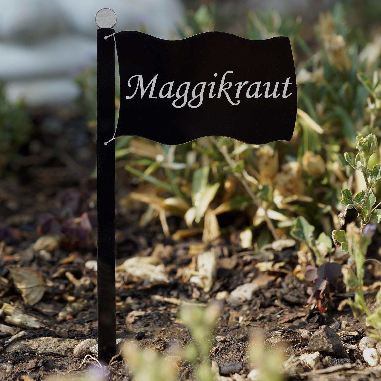 Acrylglas Pflanzschilder Fahne schwarz - Auswahl + Wunschname - Gartenstecker, Kräuterschilder, Pflanzenstecker