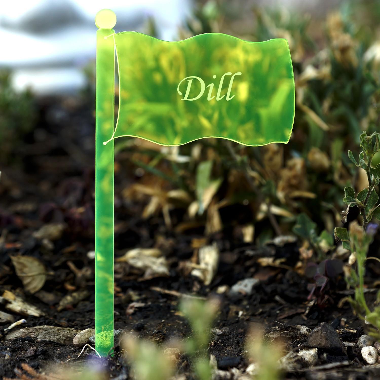 Acrylglas Pflanzschilder Fahne neongrün transparent fluoreszierend - Gartenstecker, Kräuterschilder, Pflanzenstecker