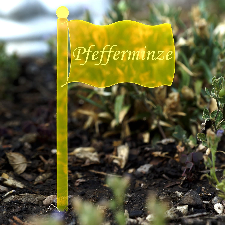 Acrylglas Pflanzschilder Fahne neonorange transparent fluoreszierend - Gartenstecker, Kräuterschilder, Pflanzenstecker