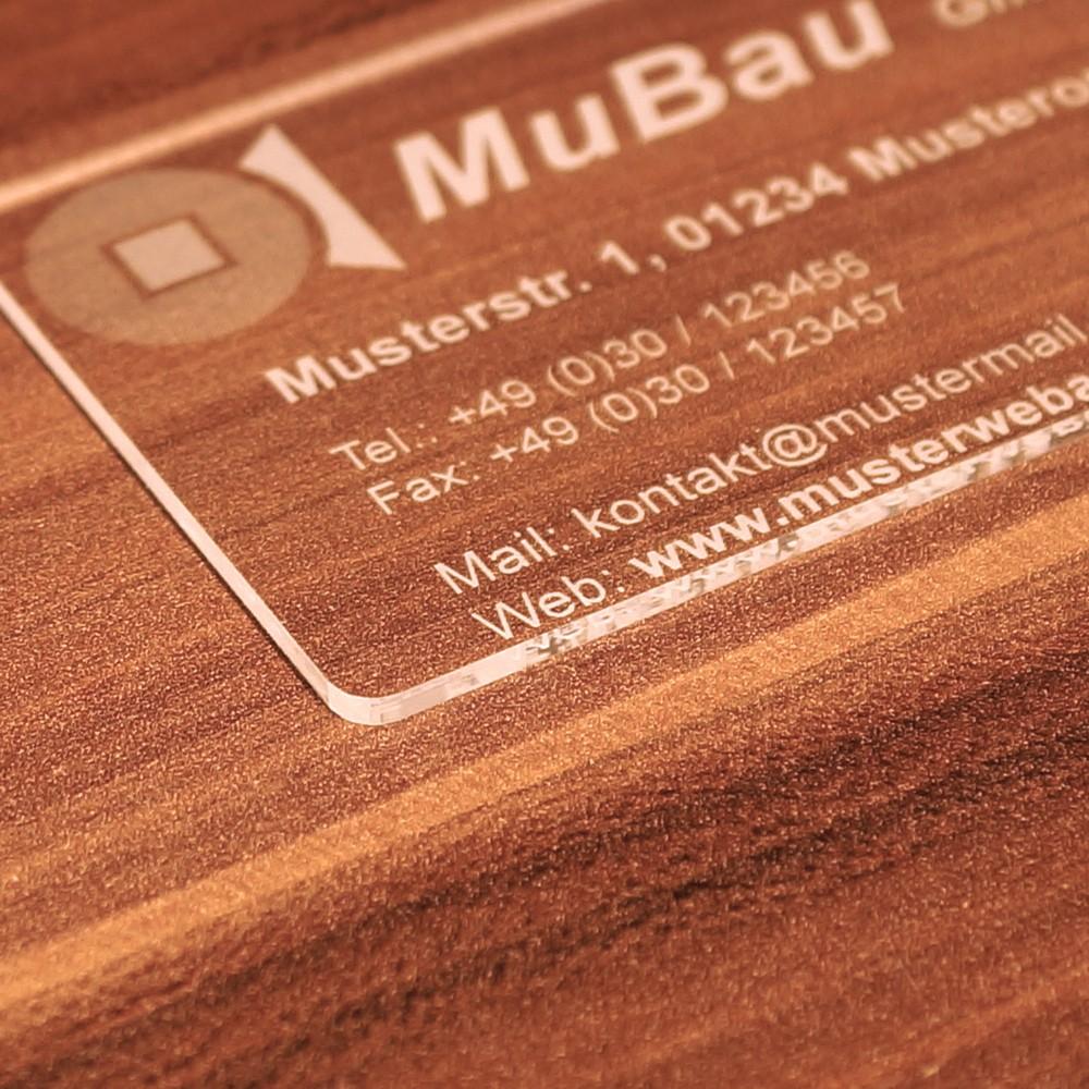 Premium Plexiglas Visitenkarten Im Kreditkartenformat Mit Ihrem Text Und Logo