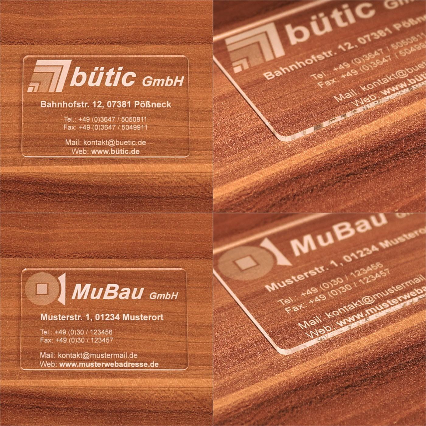 Premium Plexiglas® Visitenkarten im Kreditkartenformat mit ihrem Text und Logo