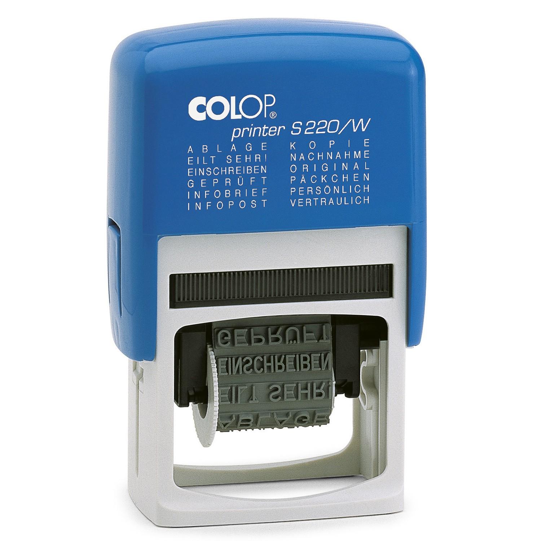 COLOP Blue Line Printer 12in1 Stempel mit 12 fertigen Stempeltexten - S220/W Wortbandstempel
