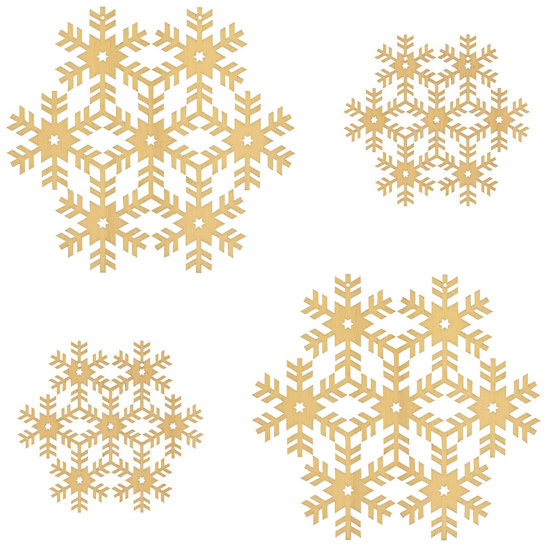 4er set fensterbilder schneeflocken deko aus holz f r. Black Bedroom Furniture Sets. Home Design Ideas