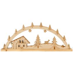 Lichterbogen Blockhütte - Schwibbogen aus Holz mit 10er Lichterkette für Weihnachten 001
