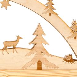 Lichterbogen Blockhütte - Schwibbogen aus Holz mit 10er Lichterkette für Weihnachten – Bild 7