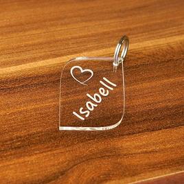 Acrylglas Liebes-Anhänger individuell graviert Namensschilder Schlüsselanhänger