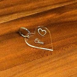 Acrylglas Liebes-Anhänger individuell graviert Namensschilder Schlüsselanhänger – Bild 5