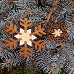 Baumschmuck 2er Sets Schneeflocken Baumbehang - Deko aus Holz für Weihnachten