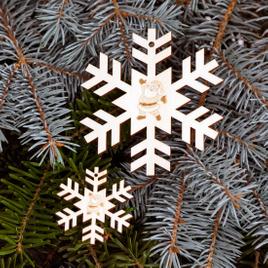 Baumschmuck 2er Sets Motiv-Schneeflocken Baumbehang - Deko aus Holz für Weihnachten