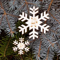 Baumschmuck 2er Sets Motiv-Schneeflocken Baumbehang - Deko aus Holz für Weihnachten – Bild 1