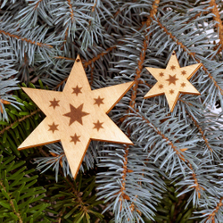 Tree decoration Set of 2 stars with 6 arms engraved Tree Ornaments - Decoration of wood for Christmas
