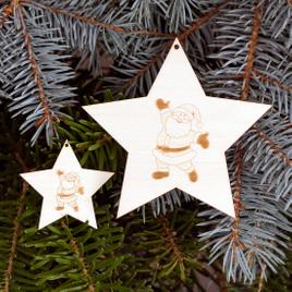 Baumschmuck 2er Sets 5 armige Motiv-Sterne Baumbehang - Deko aus Holz für Weihnachten