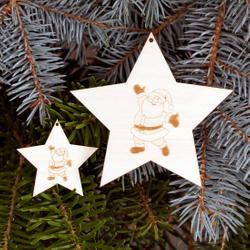 Tree decoration Set of 2 motive-stars with 5 arms engraved Tree Ornaments - Decoration of wood for Christmas