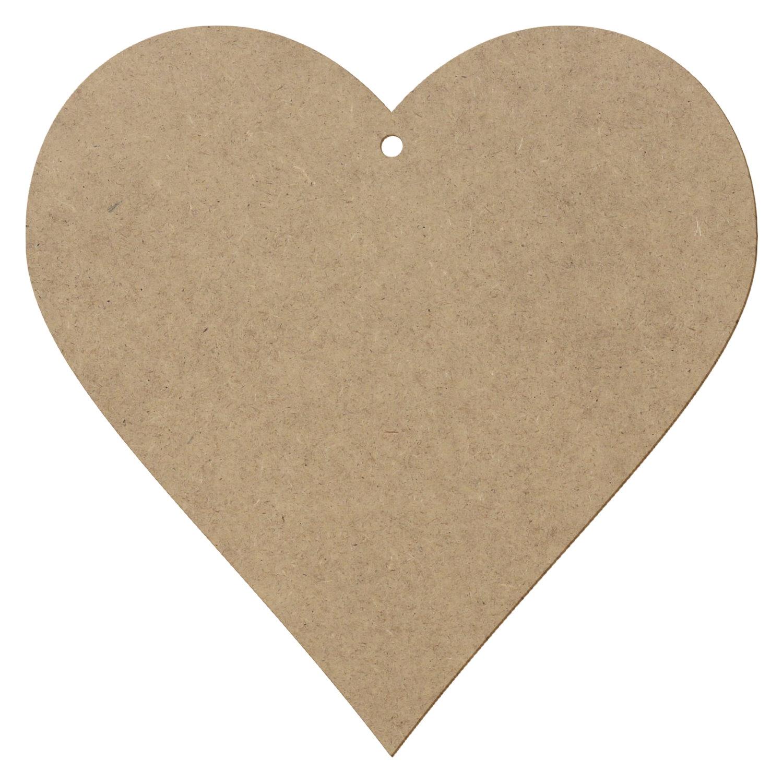 MDF Holz Herz mit 1 Loch - Deko Basteln 5-50cm