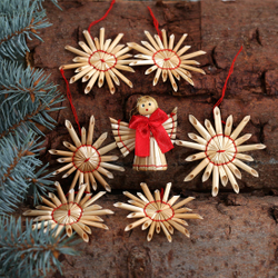 Tree decoration straw stars + Angel tree decoration - Decoration of straw for Christmas